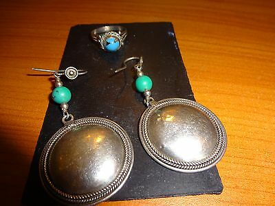 925 silver earrings and ring, tourquise?