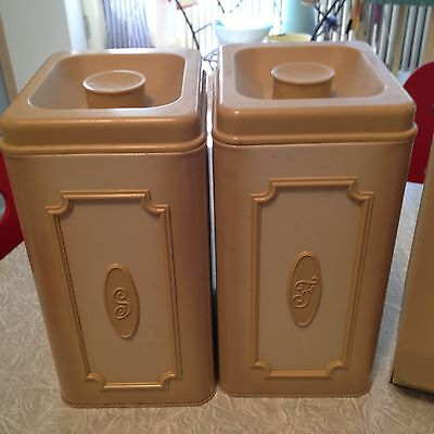 Vintage 1950's Breadbox Sugar Flour Canisters Superb Condition Gold Clean  Mint