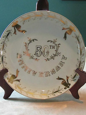 Lefton 50Th Anniveresary Plate 10.25 Inch Round  Vintage White With Gold