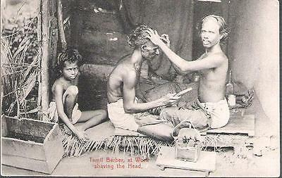 Ceylon (Sri Lanka) - Tamil Barber shaving head - postcard KEVII stamp 1907