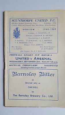 Scunthorpe United V Arsenal 25.9. 1968 - League Cup 3rd Round
