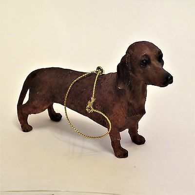 Resin Dachshund Dog Christmas Ornament Realistic Look