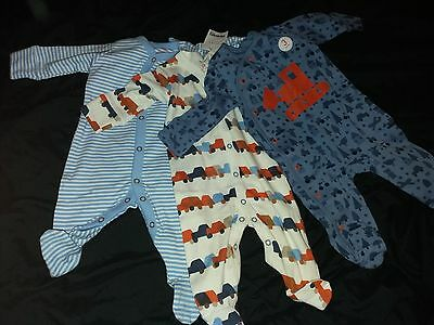 BNWT Next baby boy pack of 3 digger/cars babygrows age 0-3 months(up to 3 months