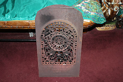 Antique Brown & Patterson Victorian Iron Metal Fireplace Furnace Front-Floral