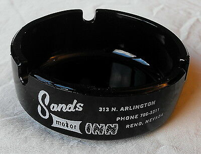 Sands Motor Inn El Rancho Motels Reno Nevada Round Black Glass Ashtray FREE SHIP