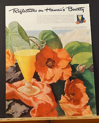 1946 Dole Hawaii's Bounty LLOYD SEXTON Artwork HAU Flower Sea HIBISCUS Ad