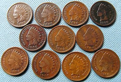 Lot 11 1890s-1900s US One Cent Indian Head 1893 1897 1898 1899 1900 1902 1904-08
