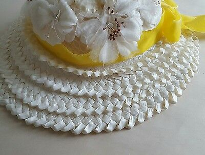 DELIGHTFUL VINTAGE CHILD'S EASTER BONNET Straw HAT Magnolias Yellow Ribbons