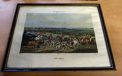 VINTAGE FOX HUNTING QUORN HUNT THE MEET By H  ALKEN FRAMED PRINT HORSE RIDING