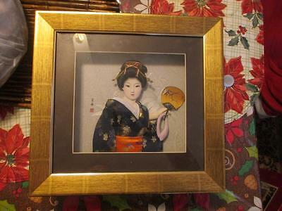 Geisha Doll 3D Shadow Box Picture Signed #1