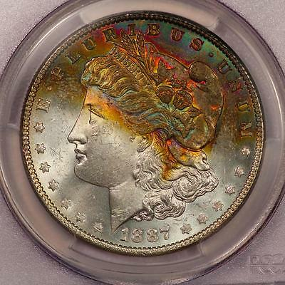 1887 Morgan Silver Dollar *PCGS MS63+* Attractive Rainbow Toning