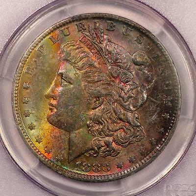 1883-O Morgan Silver Dollar *PCGS MS62* Attractive Rainbow Toning