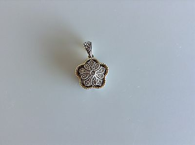 Sterling & 18 Kt Gold With .05 Pts Tcw Diamond Pendant