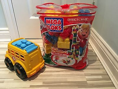 Mega Bloks Bag 80 Colourful Construction Bricks And Bus With Driver