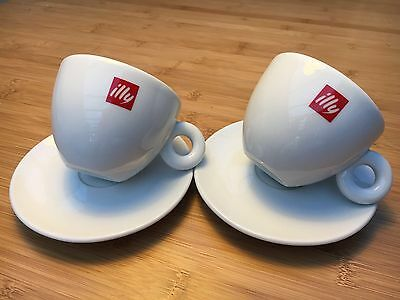 Pair of New Illy IPA White Porcelain 6oz Matteo Thun Cappuccino Cups & Saucers