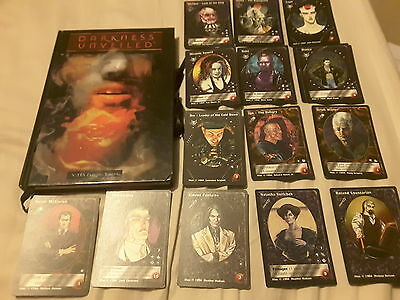 36 Vampire Jyhad character cards and Darkness Unveiled game