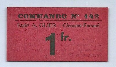France ~ Prisoner Of War 1 Franc Scrip ~ 1945-54 ~ Commando 142 Clermont-Ferrand