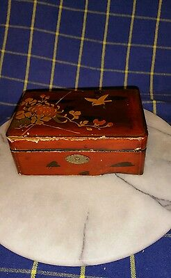 Japanese lacquered Wooden Box With Decorative Hinged Lid & Lock~135mm x 85mm