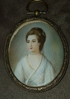 Miniature Portrait of French Woman on Celluloid 19th Century