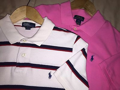 Great Lot of 2 Boys Size Large 14/16 Ralph Lauren Polo Shirts Short Sleeve