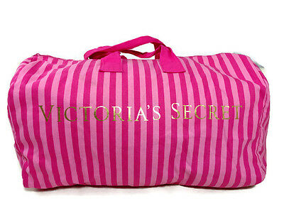 Victorias Secret Weekender Canvas Duffle Bag Extra Large Pink Striped