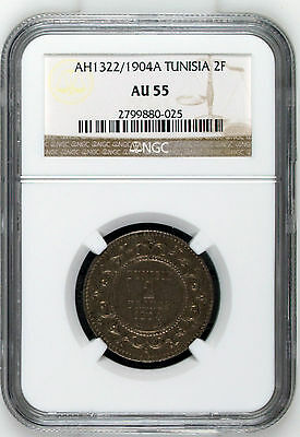** Ngc ** French Tunisia 2 Francs 1904 About Unc *** Au-55 *** Only 1 Certified!