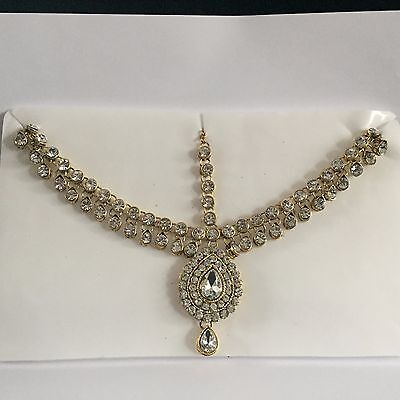 Gold Clear Indian Bollywood Head Piece Chain Matha Patti Crystal Jewellery New 2