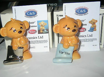 2 Nice Wade Gingie Bears With Silver & Blue Scrolls.2005.boxed&certificates