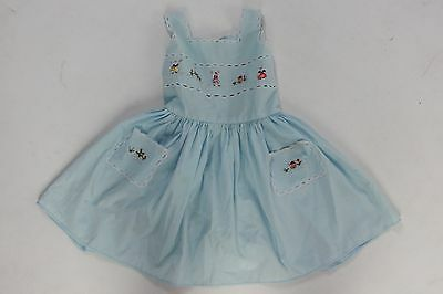 Vintage 50s cotton baby dress embroidered scene and pockets novelty