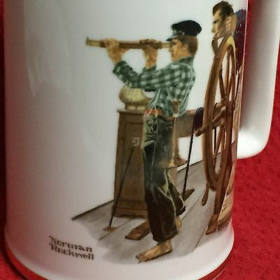 """Pair Of Norman Rockwell Collectible Cups Mugs """"Braving The Storm""""/, """"River Pilot"""