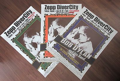 Full set! BOB DYLAN Japan PROMO ONLY 3 x different 2010 TOUR POSTERS! original!