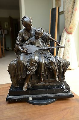 Beautiful Large French cast bronze sculpture of Music Lesson
