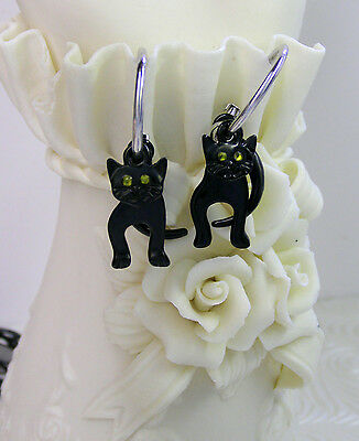 "Vintage ""Dancing"" Black Cat Earrings-Articulated Moving Cats-Halloween Cats"