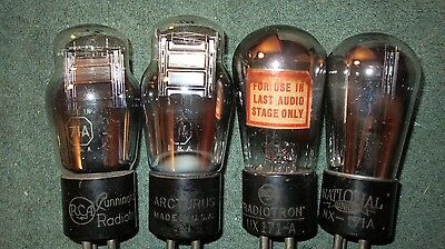 (4) Strong 90 to 100% Tested 71A & 171A Globe Radio Tubes