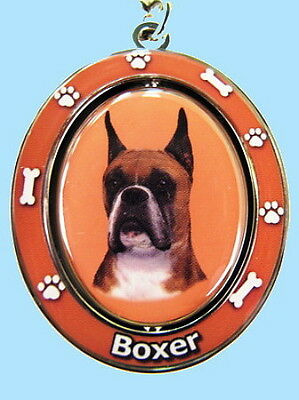 """New! Cropped Ears Boxer Dog 2½"""" Metal Two-Sided Spinning Key Chain Keychain"""