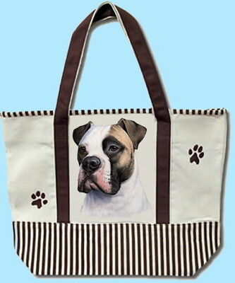 New! American Bulldog Dog Cotton Canvas Tote Shoulder Grocery Bag