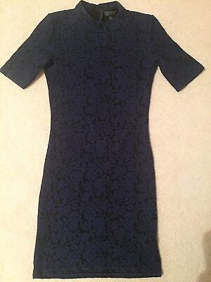 Womens, top shop bodycon dress, size 6, blue and black, vgc