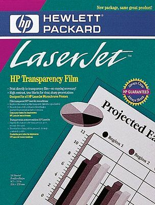 "HP Transparency Film 8.5 x 11"" 50 Sheets New in pkg HP92296T LaserJet Monochrome"