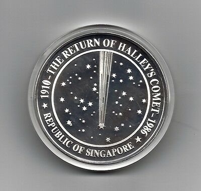1986 RETURN Of HALLEY'S COMET 5 oz 999 SILVER PROOF SINGAPORE MINT