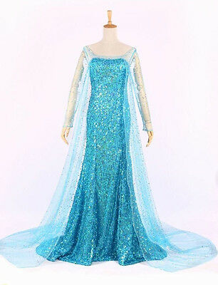 Princess Queen Elsa Style Cosplay Costume Party Fancy Dress Adult Size 12 Snow