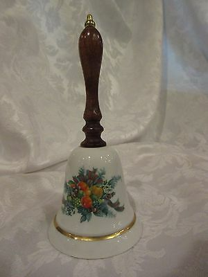 """Vintage 1985 CHRISTMAS BELL AVON PORCELAIN  6.25"""" tall with WOOD HANDLE"""
