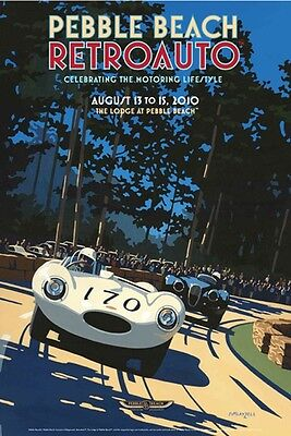 RARE SIGNED Pebble Beach Concours 2010 RETROAUTO Poster JAGUAR D-Type LAYZELL