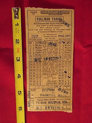 1951 NEW YORK NEW HAVEN & HARTFORD RAILROAD Co PULLMAN TICKET FT SAM HOUSTON, TX