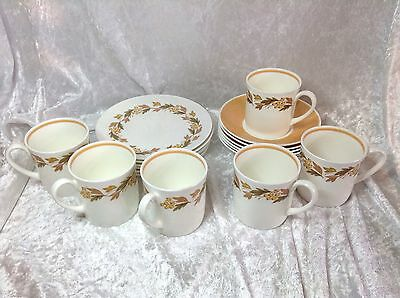 Susie Cooper Autumn Leaves 6 Cups, Saucers, Side Plates in Original Box