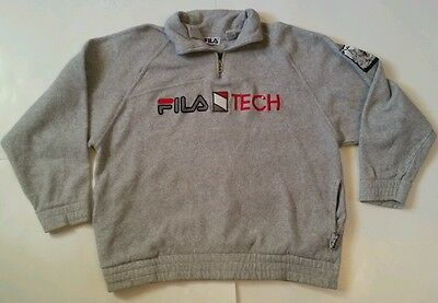 FILA Tech Biella Italia Vtg 90s Half Zip SWEATER Sz Large