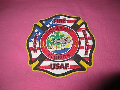 US Air Force PATRICK AFB Florida FIRE Rescue Breast Cancer T Shirt XLarge