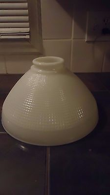 """Vtg 10""""  Waffle White Milk Glass LAMP SHADE  Torchiere Floor Lamp hole 2 1/4"""""""