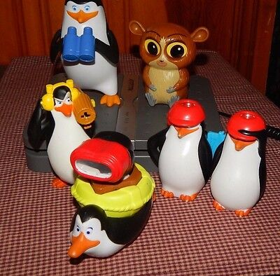 Penguins Of Madagascar Figure Toy Lot Penguin Binoculars + McDonald's Toys GUC
