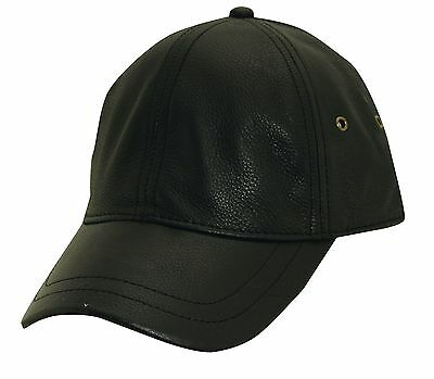 STETSON Baseball Cap-TOP Grain Cow Hide Leather-Ballcap-Smooth Black HAT