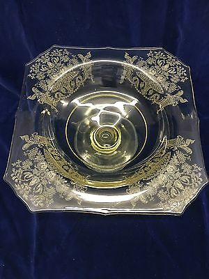 """Paden City Gothic Garden etched 9 1/2"""" footed bowl yellow"""